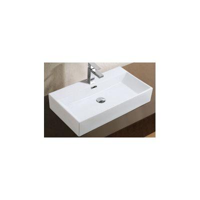 Adelmo Over the Counter Vessel Ceramic Basin Sink, Glossy White