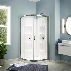 Mona Neo Round Shower Enclosure Kit With Acrylic Base and Walls