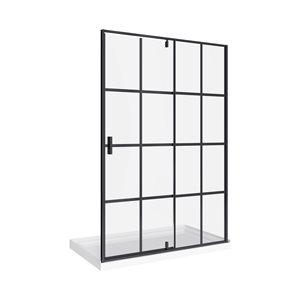 Taylor 60 Bath Screen Shower Enclosure Black Matt 32x60 With Acrylic Base