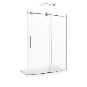"Tina 60"" Curved Shower Door with Base- Left Opening"