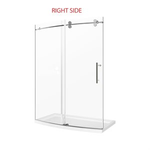 "Tina 60"" Curved Shower Door with Base- Right Opening"