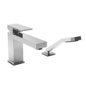 2-piece deck mount tub filler with hand shower