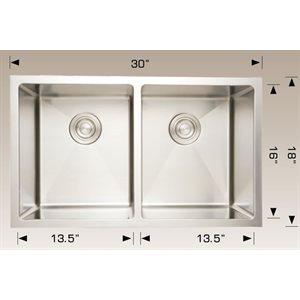 Double Kitchen sink ss 30x18x10