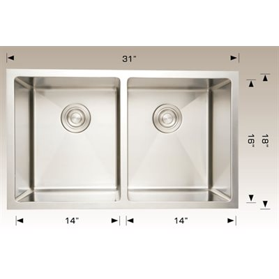 Double Kitchen sink ss 31x18x10