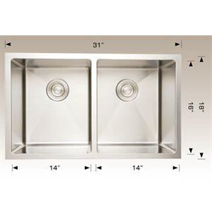 Double Kitchen sink ss 31x18x10