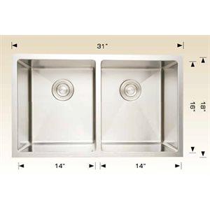 Double Kitchen sink ss 31x18x7.5