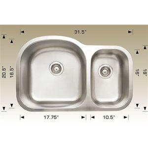 Double Kitchen sink ss 31.5x20.5x9