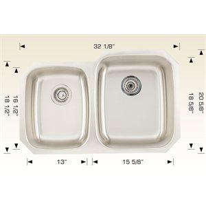 Double Kitchen sink ss 32 1 / 8x20 5 / 8x9