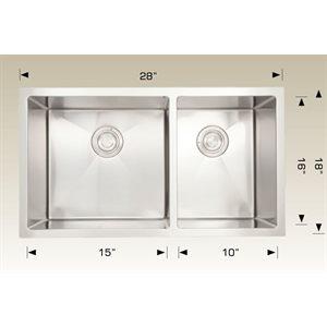 Double Kitchen sink ss 28x18x9