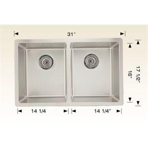 Double Kitchen sink ss 31x17 1 / 2x9