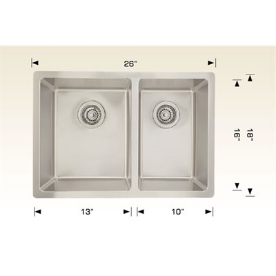 Double Kitchen sink ss 26x18x8