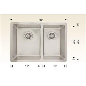 Double Kitchen sink ss 26x18x8