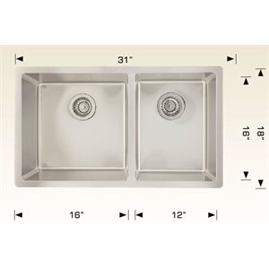 Double Kitchen sink ss 31x18x9