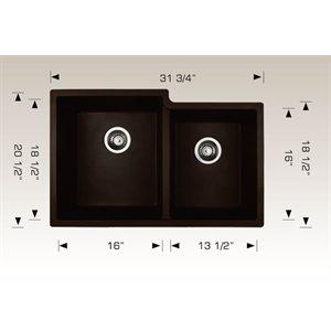 Double Kitchen sink 31 3 / 4x20 1 / 2x9