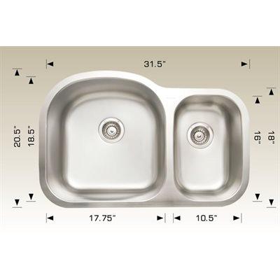 Double Kitchen sink ss 31 / 5x20.5x9