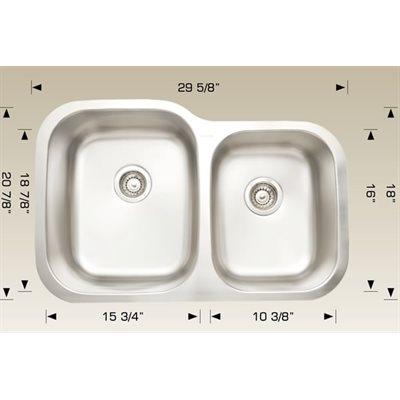 Double Kitchen sink ss 29 5 / 8x20 7 / 8x9
