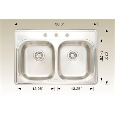 Double Kitchen sink ss 30.5x20.5x8