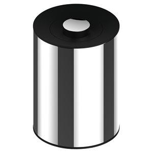 Waste bin   chrome-finish (polished stainless steel) / dark grey (RAL 7021)