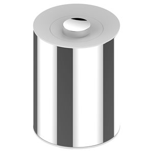 Waste bin   chrome-finish (polished stainless steel) / white (RAL 9010)