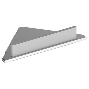 Corner soap shelf | with integrated glass wiper | aluminum silver anodized / white (RAL 9010)