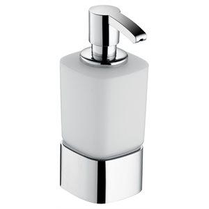 Soap foam dispenser (USA) | table model with holder & pump | polished chrome