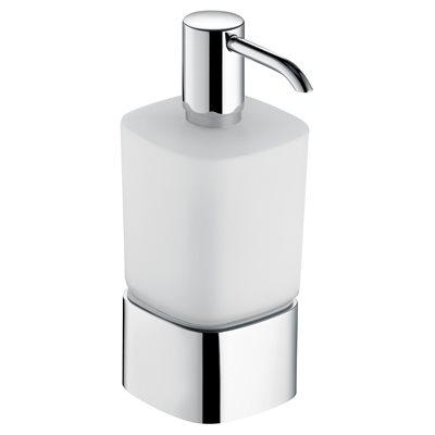 Lotion dispenser   table model with holder&pump   polished chrome