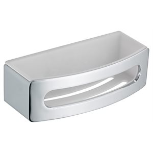 Shower basket | synthetic insert white | polished chrome / white