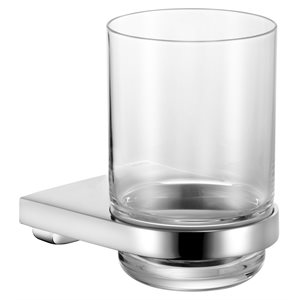 Tumbler holder   with crystal-glass tumbler   polished chrome