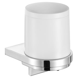 Lotion dispenser | with holder and pump | polished chrome / white