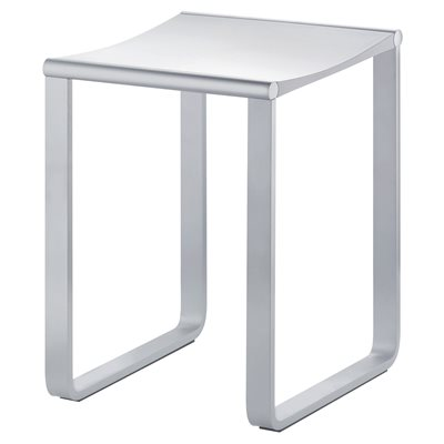 Bathroom stool | max load 220 lb | polished chrome / light grey (RAL 7035)