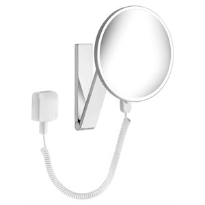 Cosmetic mirror iLook_move USA   wall-fitted model, round   illuminated plug-in   polished chrome