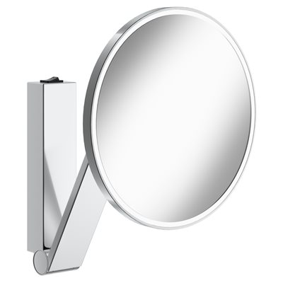 Cosmetic mirror iLook_moveUSA | wall mounted round w. light | with rocker switch | polished chrome