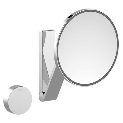 Cosmetic mirror iLook_moveUSA | wall mounted round / with light | 2 light colours / without cable | brushed black chrome