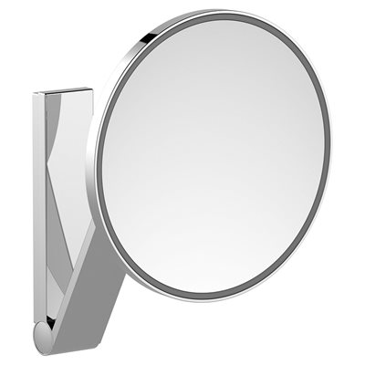 Cosmetic mirror iLook_moveUSA   wall mounted round / with light   1 light colour / without cable   brushed black chrome