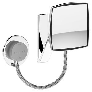 Cosmetic mirror iLook_move USA   wall-fitted model, angled   illuminated   polished chrome