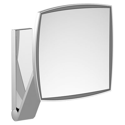 Cosmetic mirror iLook_move | wall model squared w.light | polished chrome