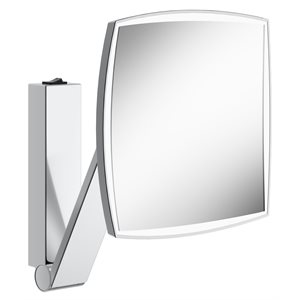 Cosmetic mirror iLook_moveUSA   wall mounted, square w. light   with rocker switch   polished chrome