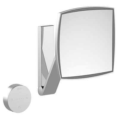 Cosmetic mirror iLook_moveUSA | wall mounted square w. light | 2 light colours / without cable | stainless steel finish