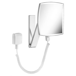 Cosmetic mirror iLook_moveUSA   wall mounted square w. light   w. plug-in power supply unit   brushed black chrome