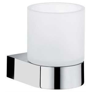 Tumbler holder   with crystal glass tumbler   polished chrome