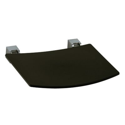 Tip-up seat | wall-mounted | polished chrome / dark grey (RAL 7021)