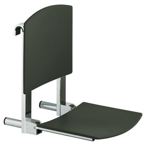 Tip-up seat | with back rest | for installation on rail | polished chrome / light grey (RAL 7035)