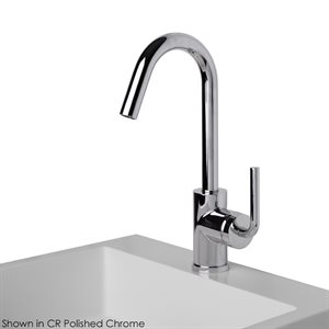 Deck-mount single-hole faucet with a goose-neck swiveling sp