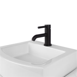 Deck-mount single-hole faucet with a pop-up and lever handle
