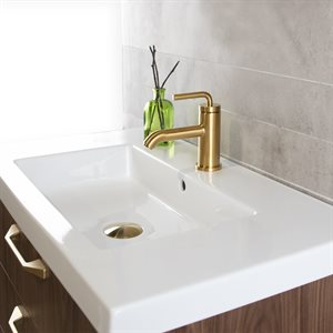 Deck-mount single-hole faucet with a pop-up and curved lever