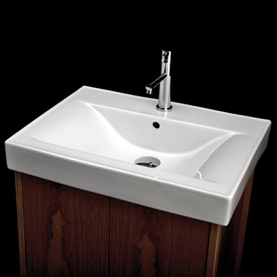 Above counter porcelain Bathroom Sink with 00 - no faucet ho