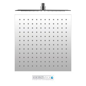 Shwr head square 40x40cm [16in] stainless steel 2mm chrome